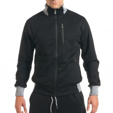 Мъжки черен спортен комплект с декоративен цип it160916-77 4