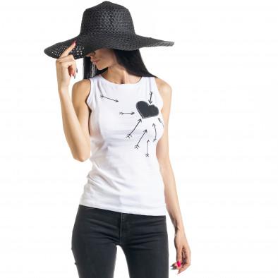 Бяла дамска тениска без ръкави il080620-9 2