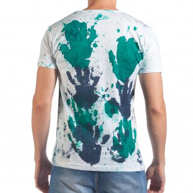 Мъжка бяла тениска със зелени и сини отпечатъци il060616-50 3