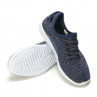 Мъжки сини маратонки със сив принт олекотени it090616-22 4