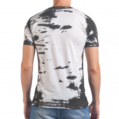 Мъжка бяла тениска със сив принт il060616-53 3