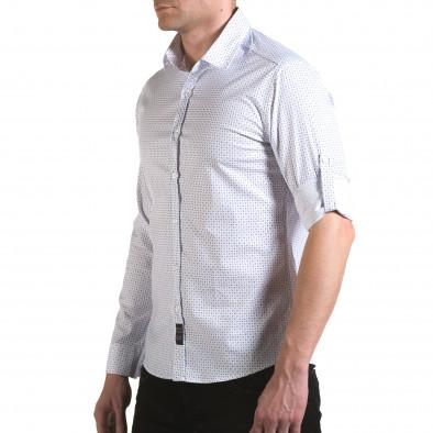 Мъжка бяла риза с малки сини детайли il170216-117 4