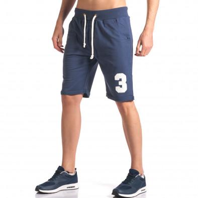 Мъжки сини шорти за спорт с номер it260416-24 4