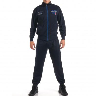 Мъжки син спортен комплект с надписи it160916-74 2