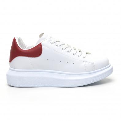 Бели дамски кецове червена пета tr180320-20 2