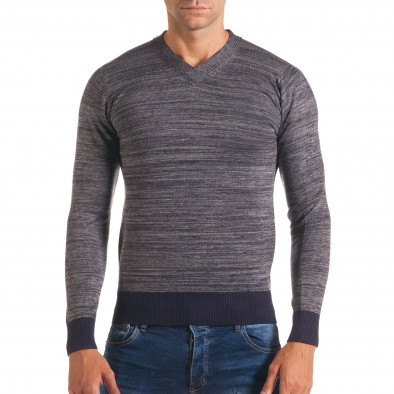 Мъжки синьо-сив пуловер с остро деколте it170816-9 2