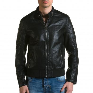 Мъжко черно кожено яке с копчета на яката ca190116-34 2