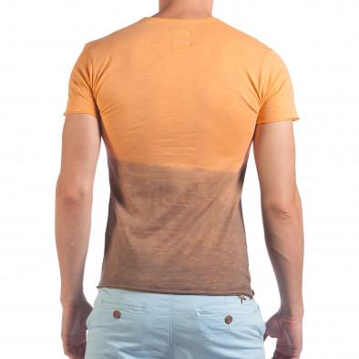 Мъжка оранжево-кафява тениска Live Life With Love il060616-35 3
