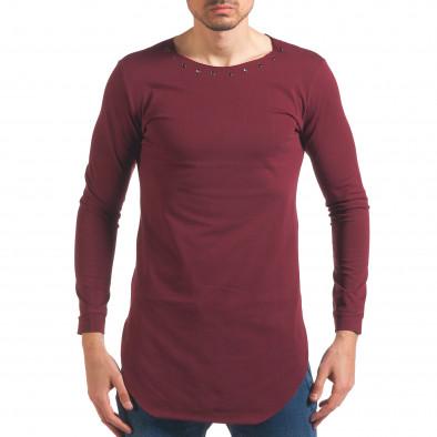 Мъжка червена блуза с дълъг ръкав и метални капси it250416-80 2