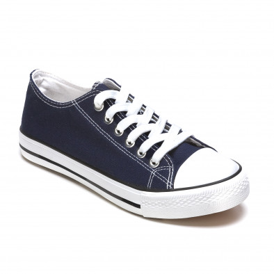 Мъжки тъмо сини кецове с бели шевове it170315-6 3