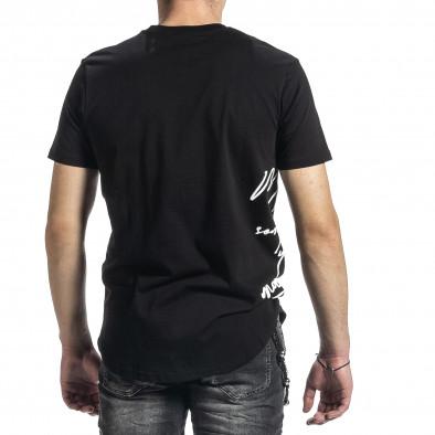 Мъжка черна тениска страничен принт tr270221-50 4
