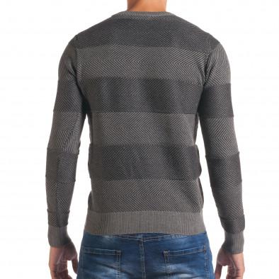 Мъжки тъмно сив пуловер с фини райета it170816-4 3