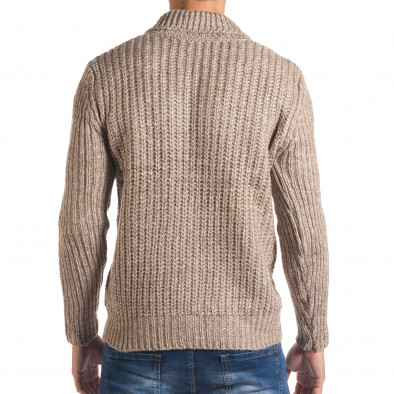 Мъжки бежов зимен пуловер с копче на яката it170816-28 3