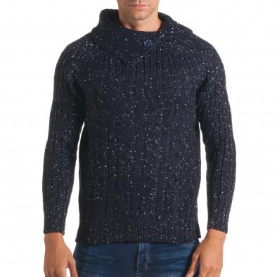 Мъжки син зимен пуловер с малки бели точки it170816-50 2