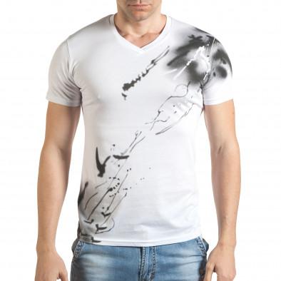 Мъжка бяла тениска с контрастна щампа tsf140416-75 2
