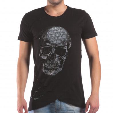 Мъжка черна тениска с череп от камъни il210616-22 2