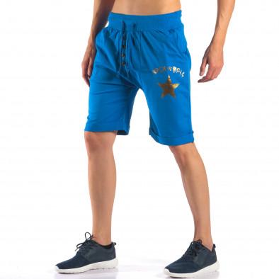 Мъжки сини шорти със златна звезда it160616-15 4