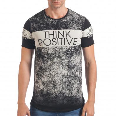 Мъжка черна тениска Think Positive il060616-61 2