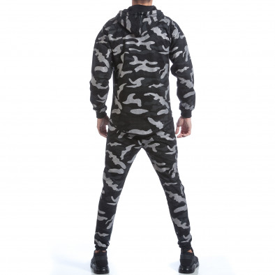 Мъжки спортен комплект черно-сив камуфлаж it160817-70 3