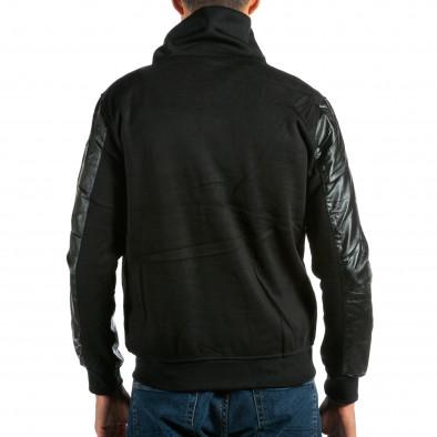 Мъжки черен суичър с кожени ръкави tsf290914-23 3