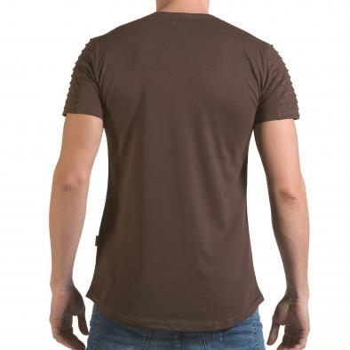 Мъжка кафява тениска с надпис Life is a Laugh il170216-68 3