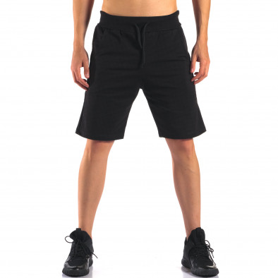 Черни мъжки спортни шорти изчистен модел it160616-11 2