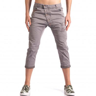 Сив мъжки панталон 7/8 тип потури  it250416-27 2