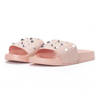 Дамски розови чехли с камъчета и пирамидени капси it230418-33 3