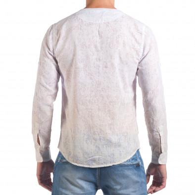 Мъжка бяла риза с преливащо оцветяване и фигурална шарка il060616-116 3