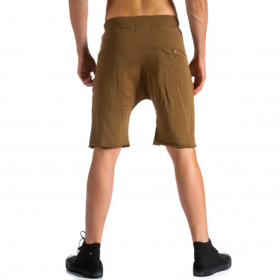 Мъжки кафяви къси шорти с бежова връзка tsf120514-17 3