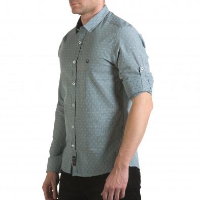 Мъжка зелена риза на фини квадратчета с лого il170216-107 4