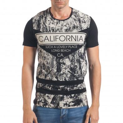 Мъжка черна тениска с надпис California il060616-64 2