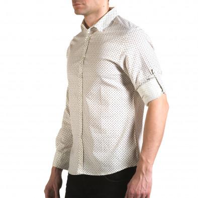 Мъжка бяла риза с малки розички il170216-98 4