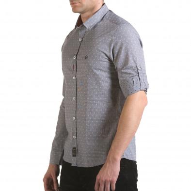 Мъжка сива риза на фини квадратчета с лого il170216-106 4