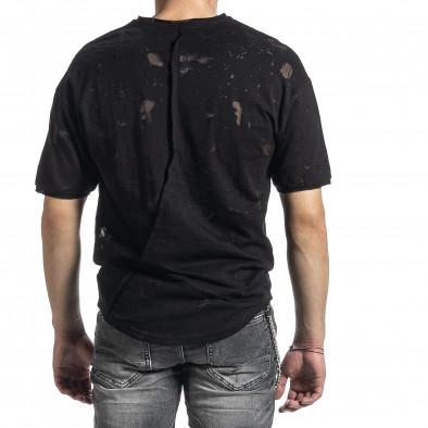 Мъжка черна тениска с прозрачни петна tr270221-49 3
