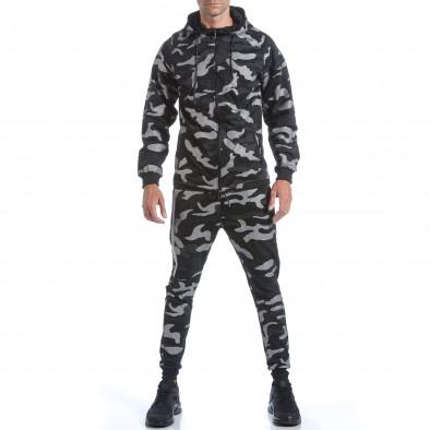 Мъжки спортен комплект черно-сив камуфлаж it160817-70 2