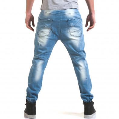 Мъжки светло сини дънки с кройка на потури QBR 5