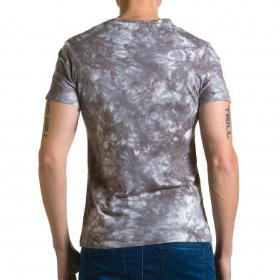 Мъжка сива тениска с бял принт отпред ca190116-45 3