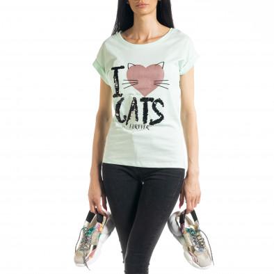 Дамска тениска с пайети цвят мента il080620-4 2