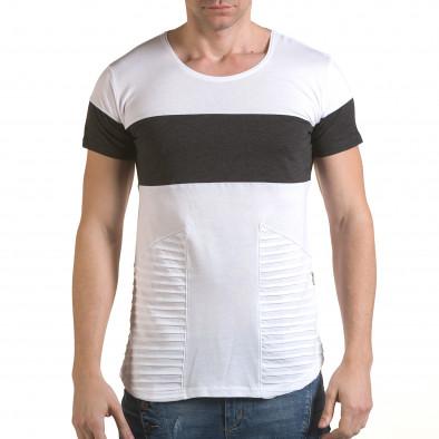 Мъжка бяла тениска с тъмно сива лента il170216-74 2