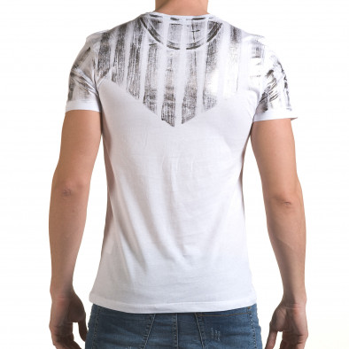 Мъжка бяла тениска със сребрист принт il170216-50 3