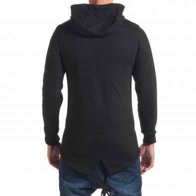 Мъжки черен удължен суичър с хоризонтални шевове it240816-50 3