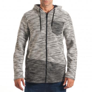 Мъжки светло сив суичър с декоративни скъсвания it240816-44 2
