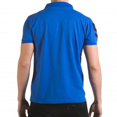 Мъжка синя тениска с яка с релефен надпис Super FRK il170216-21 3
