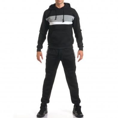 Мъжки черен спортен комплект с 2 ленти отпред it160916-84 2