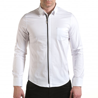 Мъжка бяла риза с цип il170216-91 2