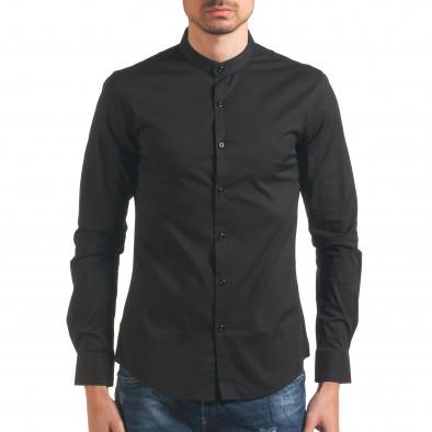 Черна мъжка риза с попска яка Akusawa 4