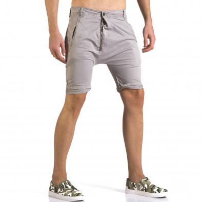 Мъжки сиви къси панталони със смъкнато дъно it110316-34 4
