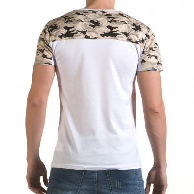 Мъжка бяла тениска с камуфлажна част на раменете il170216-45 3