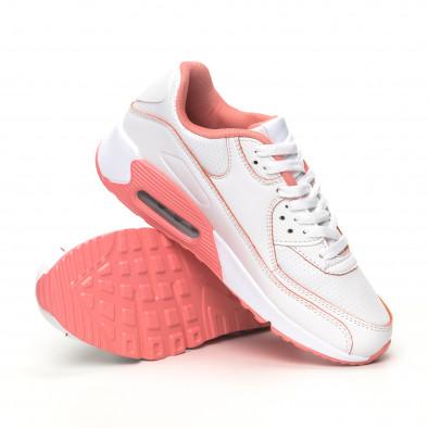 Дамски маратонки с въздушна камера бяло и розово it051219-11 4